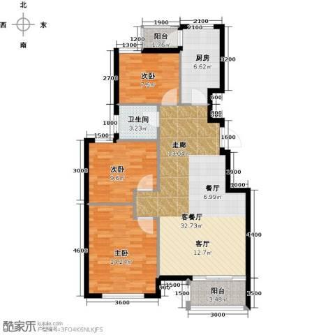 水岸天华3室1厅1卫1厨106.00㎡户型图