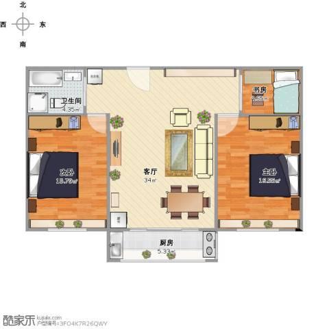 绿岛豪苑3室1厅1卫1厨108.00㎡户型图