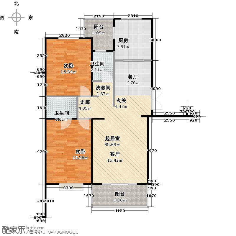 富锦嘉园96.00㎡三期F区2号楼C-2两室两厅一卫户型