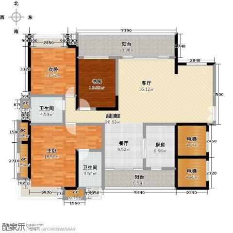 五洲花城二期3室0厅2卫1厨143.00㎡户型图