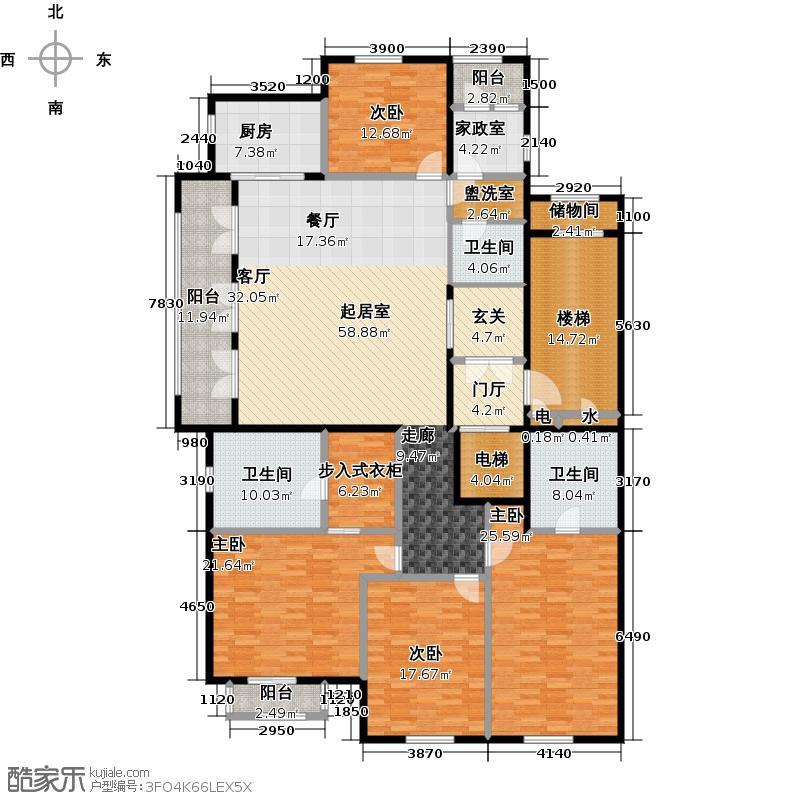 钻石湾243.00㎡四室二厅三卫户型4室2厅3卫