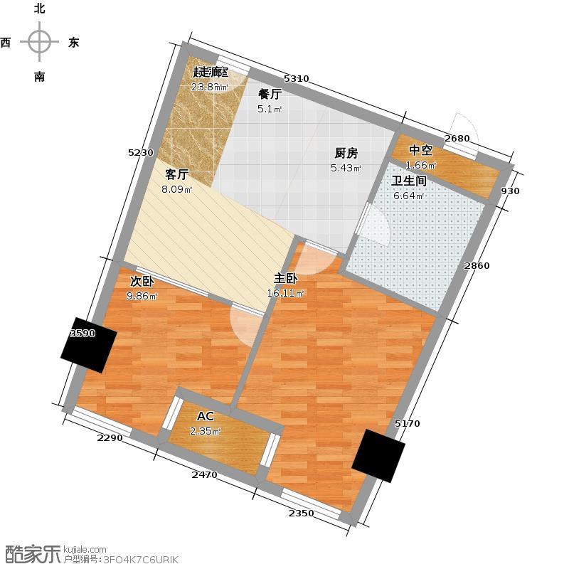 中宇国际中心66.95㎡2-19层E户型,层高3.3米精装酒店式公寓户型2室1厅1卫