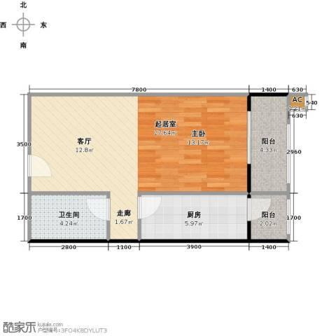 圣淘沙1卫1厨60.00㎡户型图