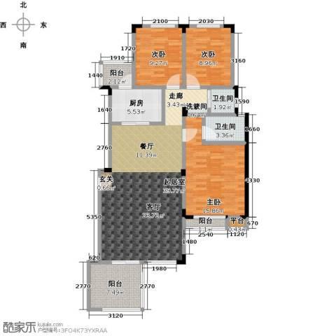 万润一品苑3室0厅2卫1厨120.00㎡户型图