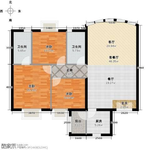 运河明珠家园3室1厅2卫1厨114.00㎡户型图