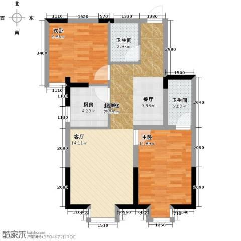 闽东国际城高峰汇2室0厅2卫1厨95.00㎡户型图