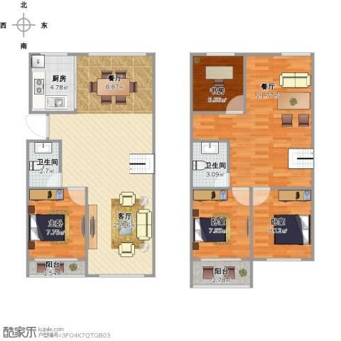 新荷花园2室2厅2卫1厨136.00㎡户型图