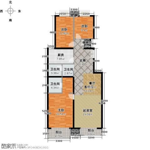 天创公馆3室1厅2卫1厨159.00㎡户型图
