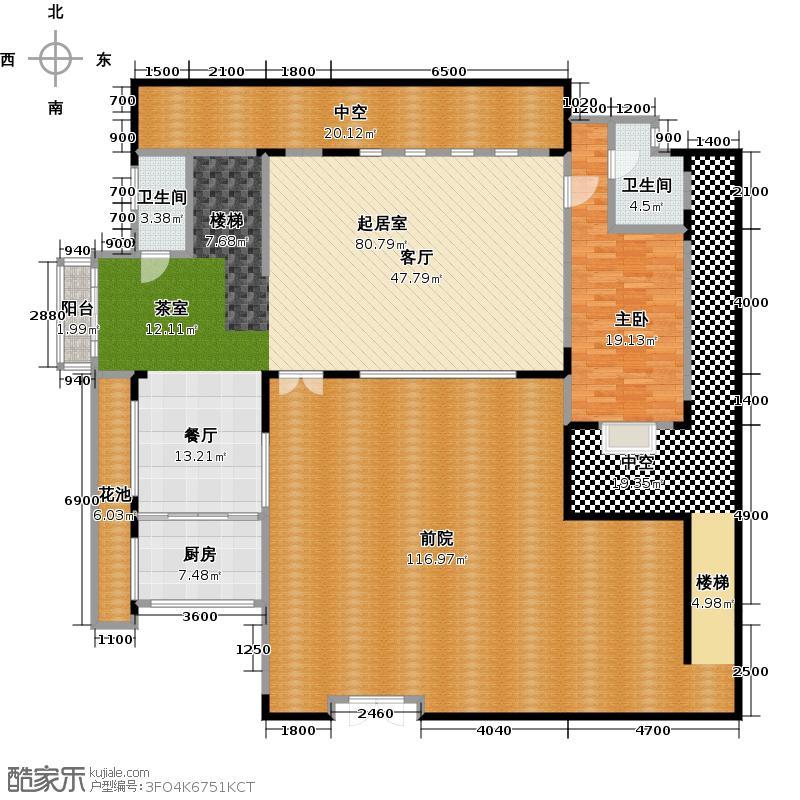 北京湾s1一层户型1室2卫1厨