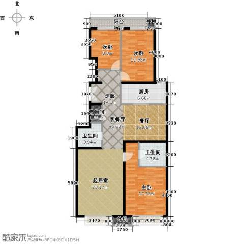 天创公馆3室1厅2卫1厨153.00㎡户型图
