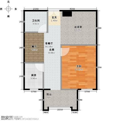方庄6号1室1厅1卫1厨69.00㎡户型图