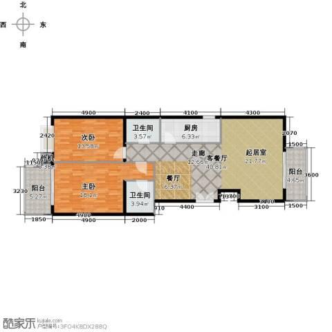 天创公馆2室1厅2卫1厨133.00㎡户型图
