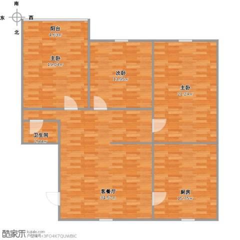 朝晖四区3室1厅1卫1厨142.00㎡户型图