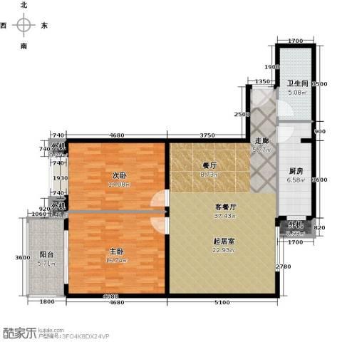 天创公馆2室1厅1卫1厨106.00㎡户型图