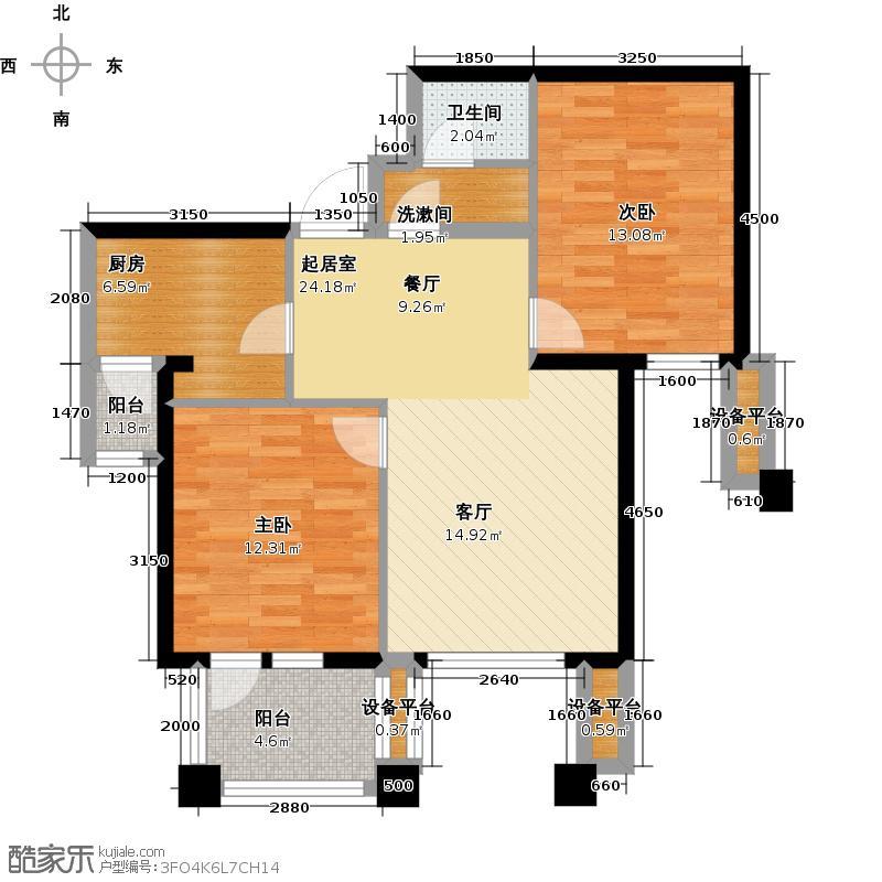 阳光新业国际B2两室两厅一卫88平户型