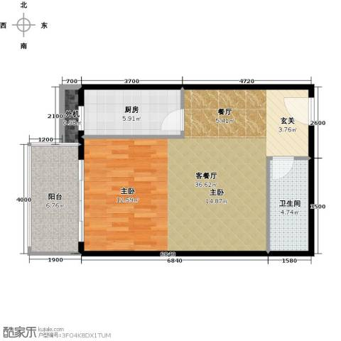 天创公馆1厅1卫1厨66.00㎡户型图
