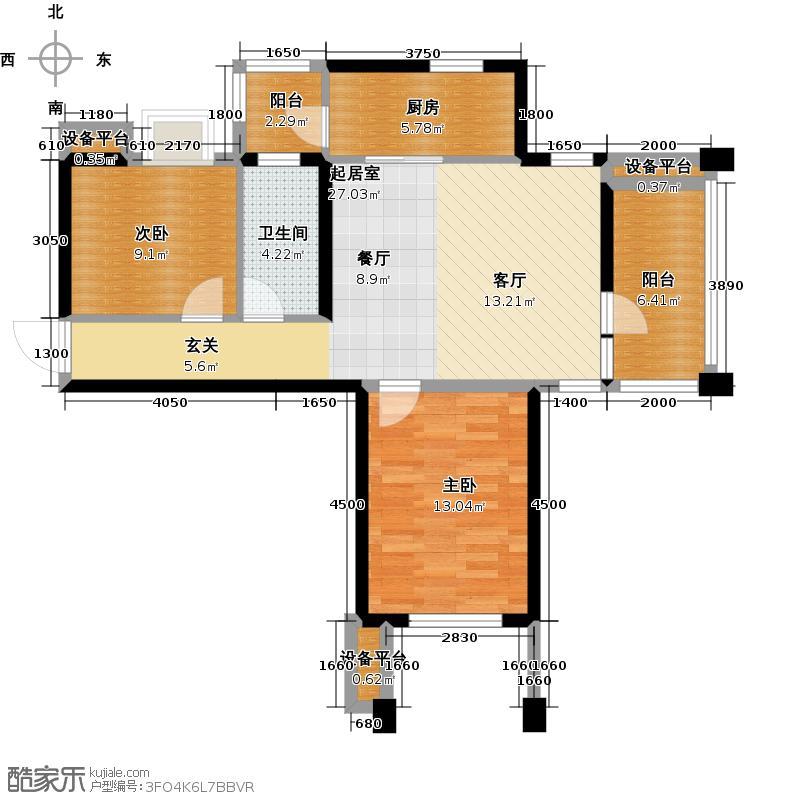 阳光新业国际C2两室一厅一卫90平户型