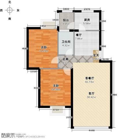 运河明珠家园2室1厅1卫1厨94.00㎡户型图