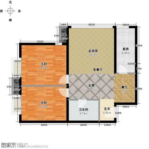 天创公馆2室1厅1卫1厨88.00㎡户型图