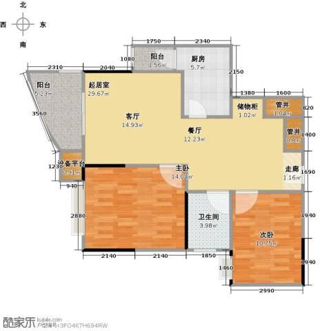 爱家星河国际2室0厅1卫1厨80.00㎡户型图