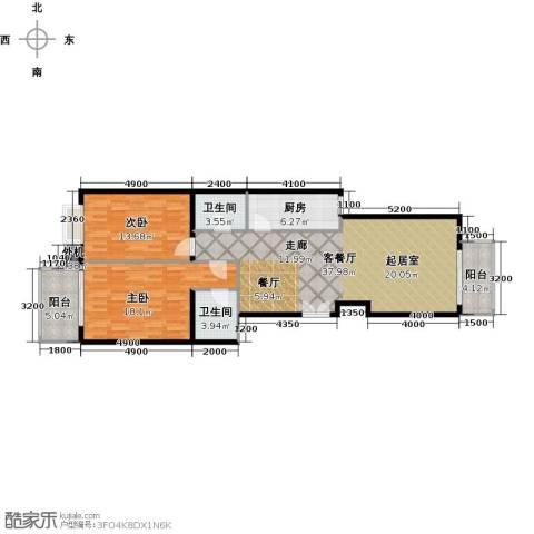 天创公馆2室1厅2卫1厨116.00㎡户型图