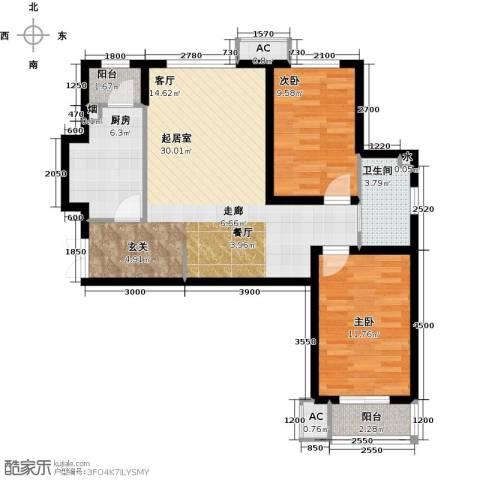 雨麟紫韵枫尚2室0厅1卫1厨94.00㎡户型图