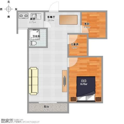 郑东宽景一品3室1厅1卫1厨61.00㎡户型图