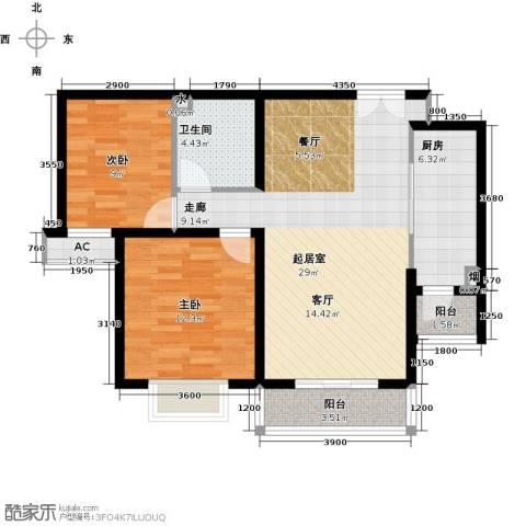 雨麟紫韵枫尚2室0厅1卫1厨95.00㎡户型图