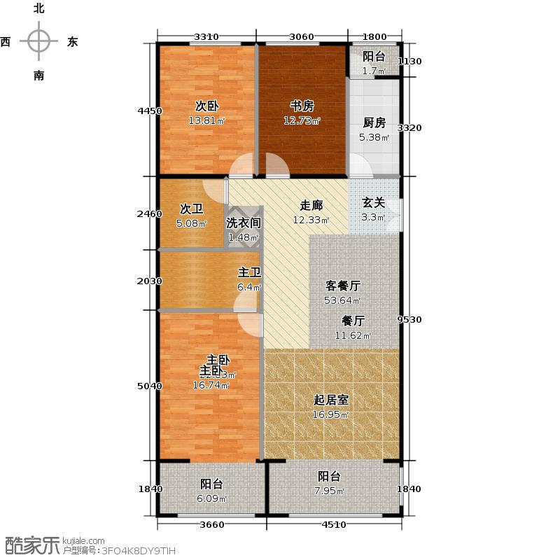 方庄6号Bb户型三室二厅二卫户型