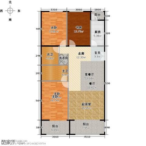 方庄6号3室1厅0卫1厨162.00㎡户型图