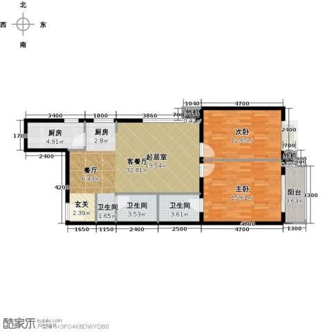 天创公馆2室1厅2卫1厨96.00㎡户型图