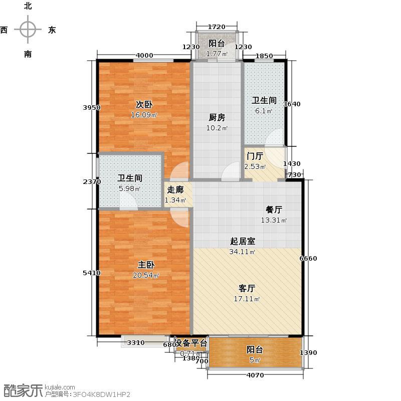 富锦嘉园104.00㎡F区5号楼C-1两室两厅一卫户型