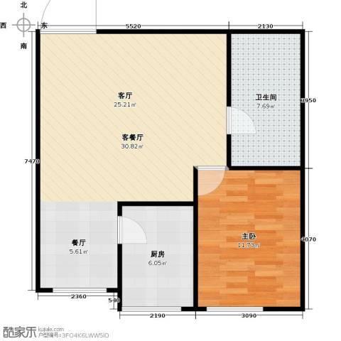 梅江馨城1室1厅1卫1厨75.00㎡户型图