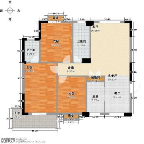 城投幸福家园3室1厅2卫1厨124.00㎡户型图