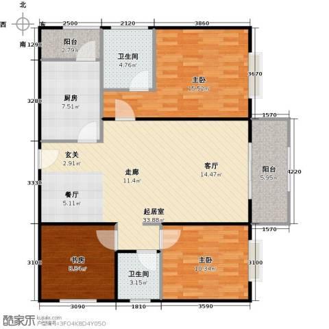 华兴名城3室0厅2卫1厨125.00㎡户型图