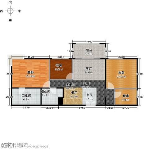 方庄6号3室1厅2卫1厨117.00㎡户型图