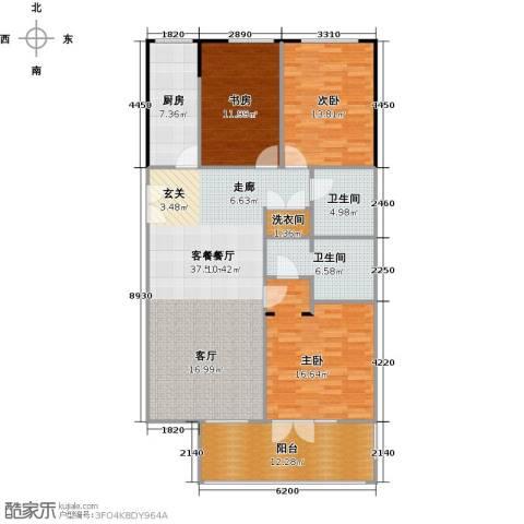 方庄6号3室1厅2卫1厨151.00㎡户型图