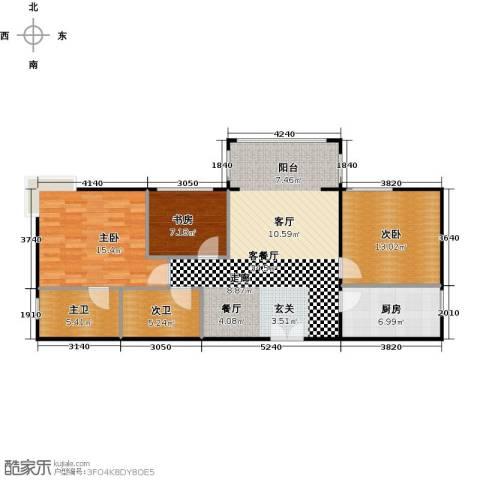 方庄6号3室1厅0卫1厨117.00㎡户型图