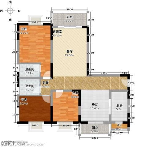 闽东国际城高峰汇3室0厅2卫1厨130.00㎡户型图