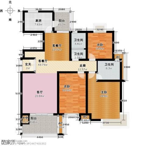 上城3室1厅3卫1厨144.00㎡户型图