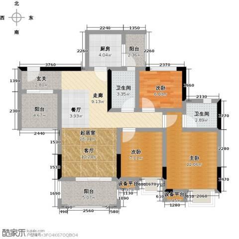 锦天梦湖山庄3室0厅2卫1厨92.00㎡户型图