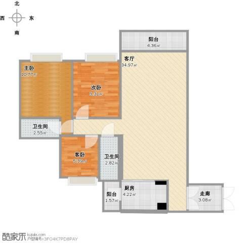 南沙・云山诗意3室1厅2卫1厨109.00㎡户型图