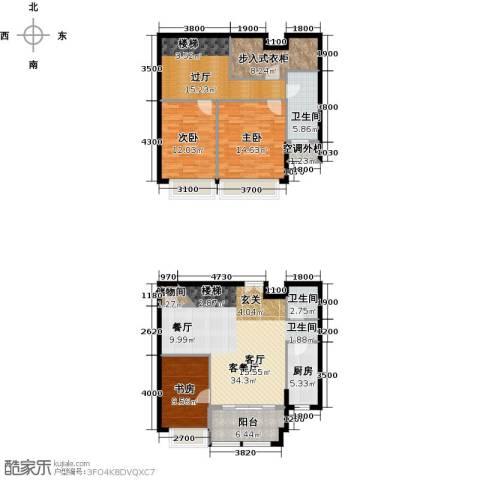威尔夏大道3室1厅2卫1厨166.00㎡户型图