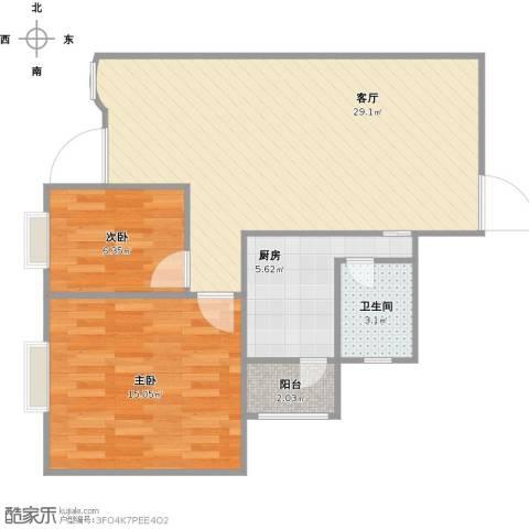 伍仙花园2室1厅1卫1厨82.00㎡户型图