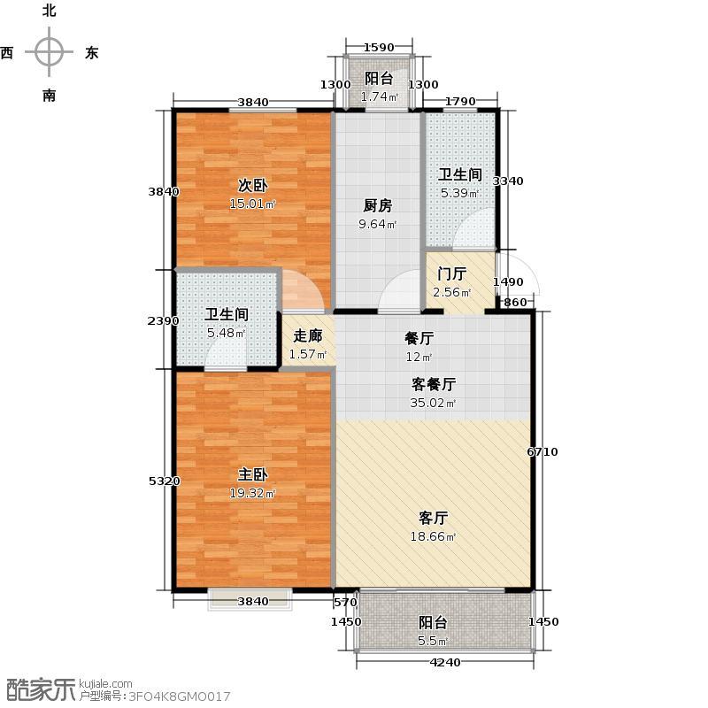 富锦嘉园104.00㎡三期F区5号楼C-1两室两厅两卫户型