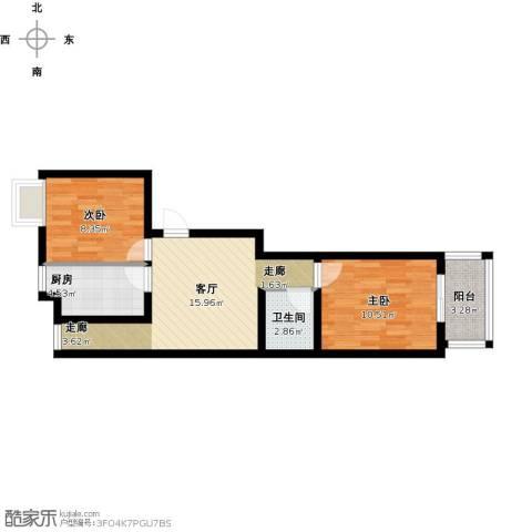 龙兆远景2室1厅1卫1厨67.00㎡户型图