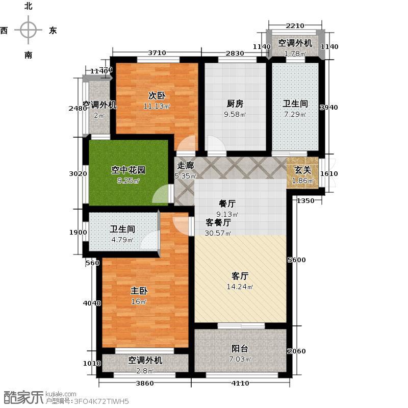 左岸尚海湾119.00㎡A户型 2+1房户型3室2厅2卫-副本