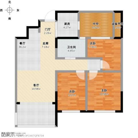 云厦阳光福邸3室1厅1卫1厨115.00㎡户型图