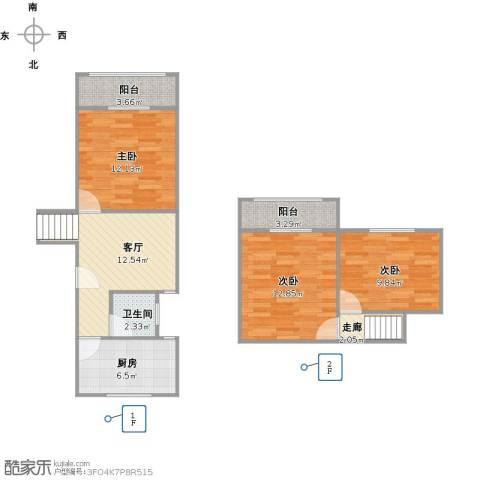 龙柏四村3室1厅1卫1厨89.00㎡户型图
