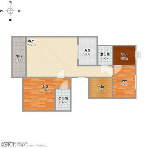 米兰诺贵都3室1厅2卫1厨98.00㎡户型图